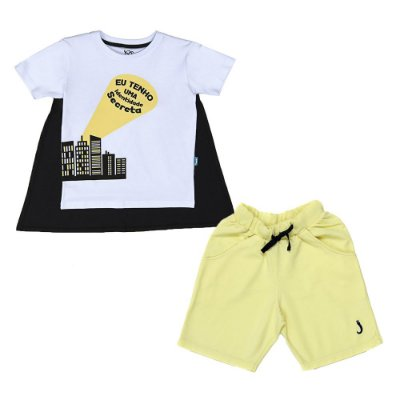 Conjunto 2 Peças - Camiseta Identidade + Bermuda Amarela
