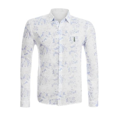 Camisa Jokenpô Casual Cambraia Floral Azul Masculina