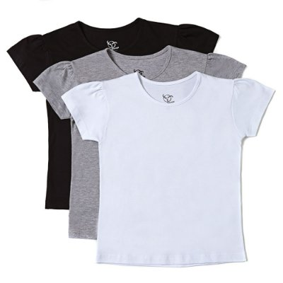 Kit 3 Camisetas Infantil Jokenpô Básica Feminina