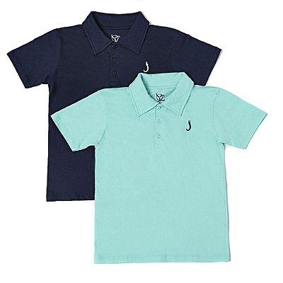 Kit 2 Camisas Polo Infantil Jokenpô Básica Masculina