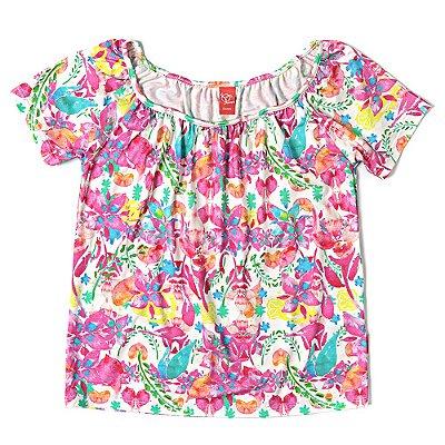Blusa Infantil Jokenpô Floral Pink Feminina