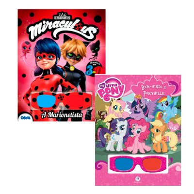 Kit 2 Livros 3D - Lady Bug + My Little Pony