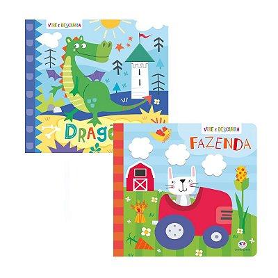 Kit 2 Livros Vire e Descubra - Dragões + Fazenda