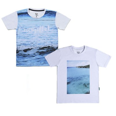 Kit 2 Camisetas Infantil Jokenpô Masculina - Mar + Mergulhe
