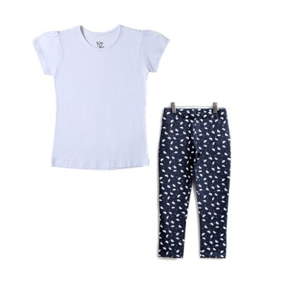 Conjunto Jokenpô 2 Peças - Blusa Básica Branca + Legging Boquinhas