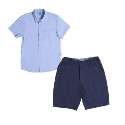 Conjunto Jokenpô 2 Peças - Camisa M/C + Bermuda Sarja