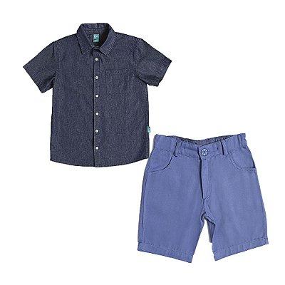 Conjunto Jokenpô 2 Peças - Camisa Jeans M/C + Bermuda Sarja
