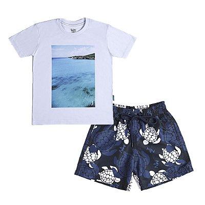 Conjunto Jokenpô 2 Peças - Camiseta Mar + Shorts D'Água Tartaruga