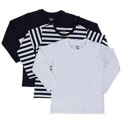 Kit 3 Camisetas Infantil Jokenpô Básica M/L Masculina