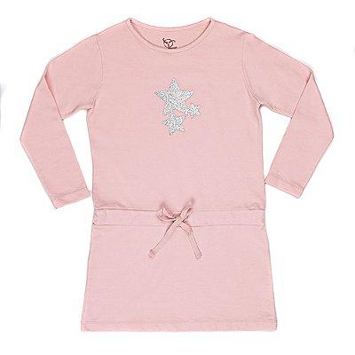 Vestido Infantil Jokenpô Moletom Estrelas Pêssego