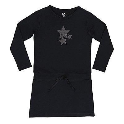 Vestido Infantil Jokenpô Moletom Estrelas Preto