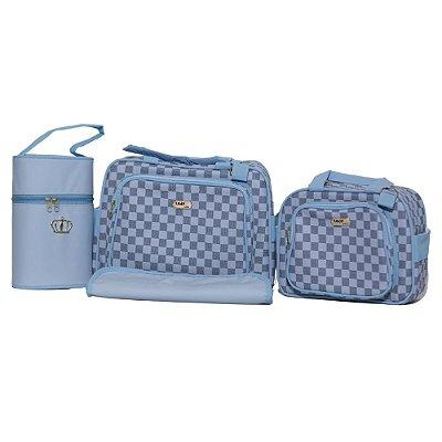 Kit Bolsa Maternidade Jokenpô / Ludy Baby Xadrez Quadrada  Azul Bebê