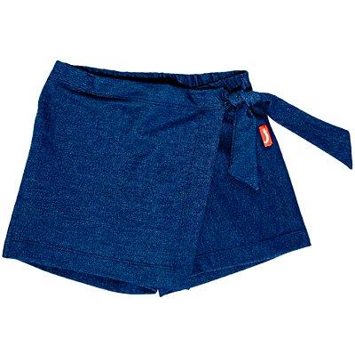 Saia Shorts Infantil Jokenpô Nó Malha Jeans Feminino Azul