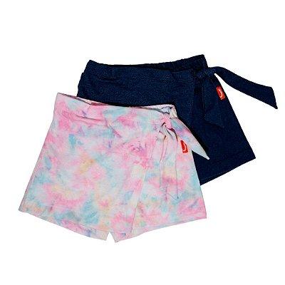 Kit 2 Saias Shorts Infantil Jokenpô Nó Tie Dye e Malha Jeans Feminino Rosa + Azul