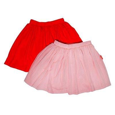 Kit 2 Saias Infantil Jokenpô Feminina Vermelha + Rosa