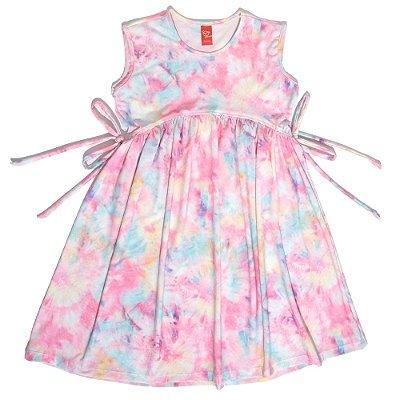 Vestido Infantil Jokenpô Tie Dye Feminino Rosa