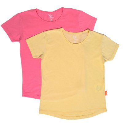 Kit 2 Camisetas Infantil Jokenpô Básica M/C Feminina Amarela + Pink