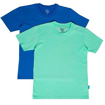 Kit 2 Camisetas Infantil Jokenpô Básica M/C Masculina Azul + Verde Água