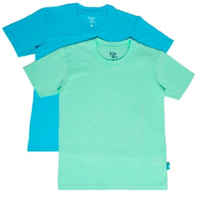 Kit 2 Camisetas Infantil Jokenpô Básica M/C Masculina Verde Água + Azul Claro