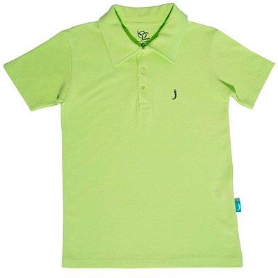Camisa Polo Infantil Jokenpô Piquet Masculina Verde Neon