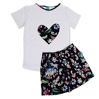 Pijama Infantil Jokenpô Curto Floral Feminino Marinho