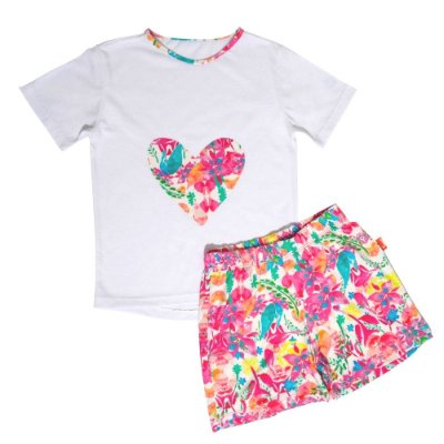 Pijama Infantil Jokenpô Curto Floral Feminino Pink