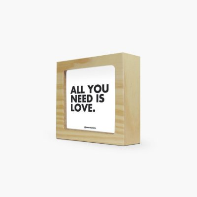 "Quadro ""All you need is love"" 12 x 12 x 4cm"
