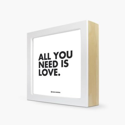 "Quadro ""All you need is love"" 17 x 17 x 4cm"