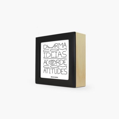 """Quadro """"Durma com ideias acorde com atitudes"""" 12 x 12 x 4cm"""