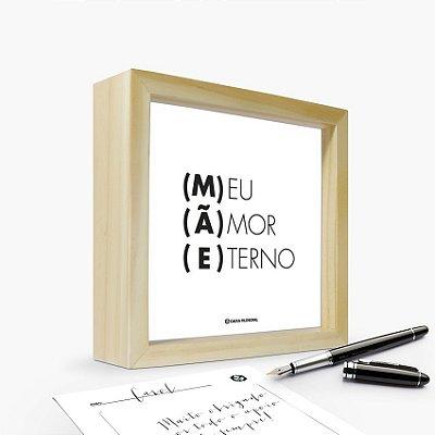 """Quadro Cartão """"Mãe Meu Amor Eterno"""" 17 x 17 x 4cm"""