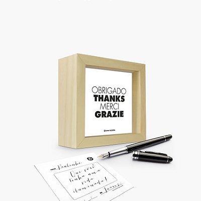 """Quadro Cartão """"Obrigado Thanks Merci Grazie"""" 12 x 12 x 4cm"""