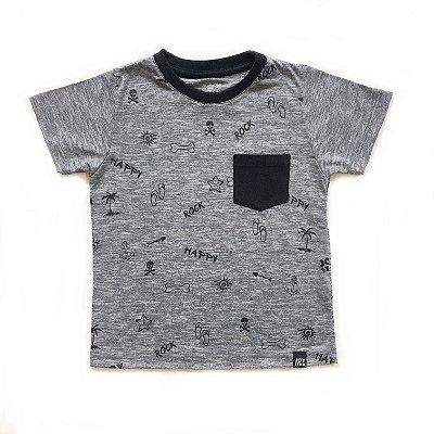 Camiseta Happy cinza mescla