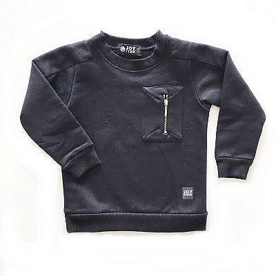Blusão bolso com ziper - preto