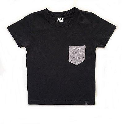 Camiseta preta - bolso cinza mescla