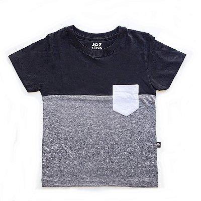 Camiseta Duo color - cinza manga curta