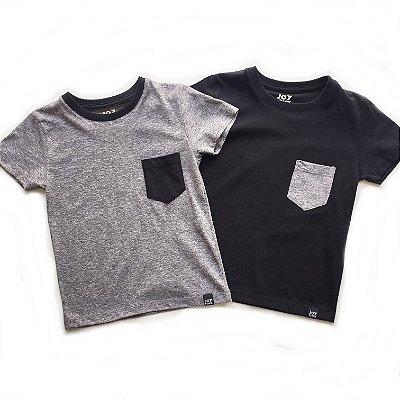 Kit Camisetas com bolso - cinza e preta