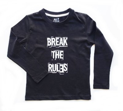 Camiseta manga longa Break the rules - preta