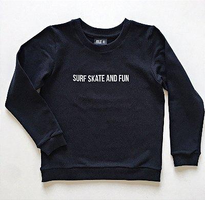 Blusão Surf skate - preto  - Moletinho leve e quentinho (felpado)