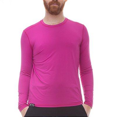 Camiseta Masculina Proteção Solar Uv50 Manga Longa - Fúcsia - Slim Fitness