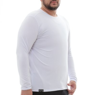 Camiseta Masculina Proteção Solar Uv50 Manga Longa - Branca - Slim Fitness