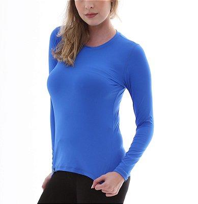 Camiseta Feminina Proteção Solar UV5+ Manga Longa – Azul Royal – Slim Fitness