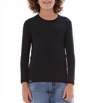 Camiseta Infantil Proteção Solar Uv50 - Preto - Slim Fitness
