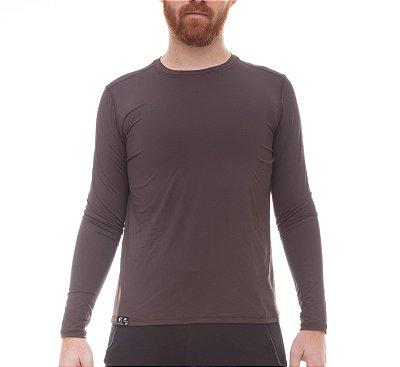 Camiseta Masculina Proteção Solar Uv50 Manga Longa - Marrom - Slim Fitness