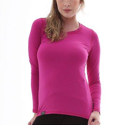 Camiseta Feminina Proteção Solar UV50+ Manga Longa - Fúcsia - Slim Fitness