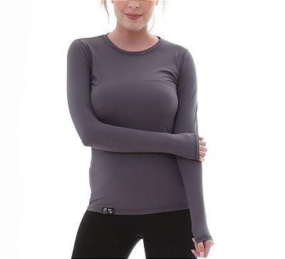 Camiseta Feminina Proteção Solar UV5+ Manga Longa – Cinza – Slim Fitness