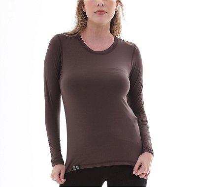 Camiseta Feminina Proteção Solar UV5+ Manga Longa – Marrom – Slim Fitness