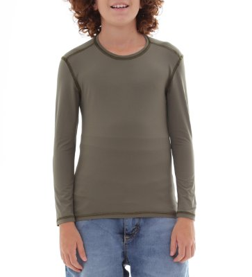 Camiseta Infantil Proteção Solar Uv50 - Verde Escuro - Slim Fitness