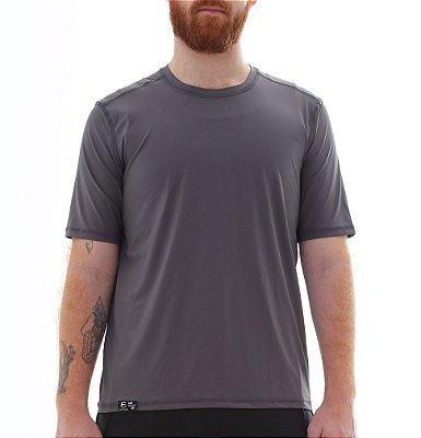 Camiseta Masculina Proteção Solar Uv50 Manga Curta - Cinza - Slim Fitness