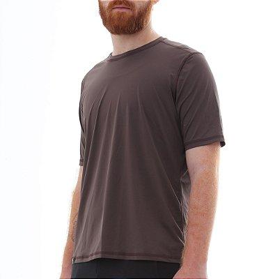 Camiseta Masculina Proteção Solar Uv50 Manga Curta - Marrom - Slim Fitness