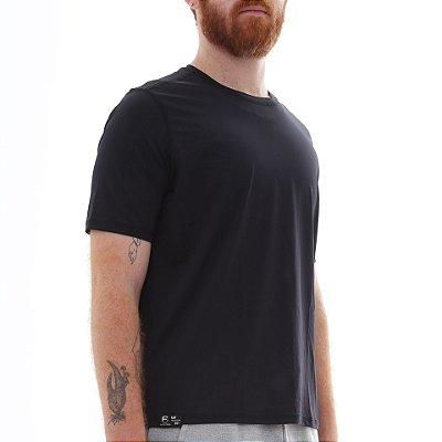 Camiseta Masculina Proteção Solar Uv50 Manga Curta - Preto - Slim Fitness